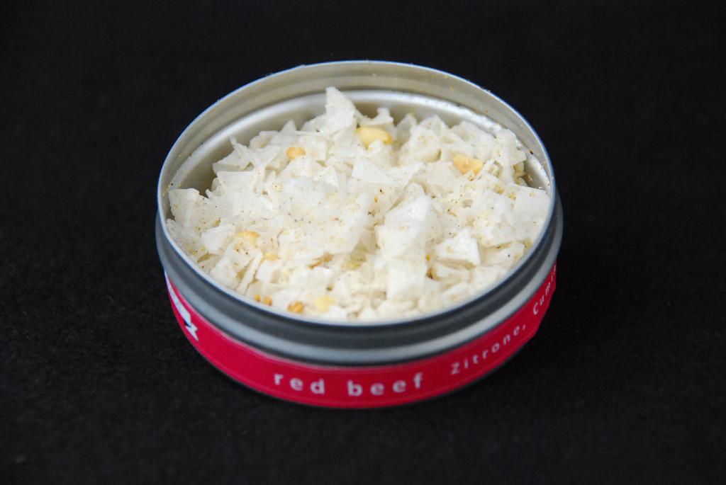 """Finish Salz """"red Beef"""" in der 10g Dose als Fingersalz mit indischem Pyramidenmeersalz"""